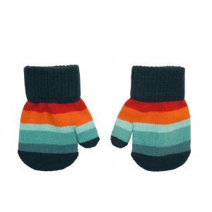北欧 子供服 手袋 ミトン ニットしましま ボーダー オレンジ/青 緑/紫 1〜3歳用|villervalla