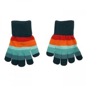 北欧 子供服 手袋 グローブ ニット しましま ボーダー オレンジ/青 緑/紫 4〜7歳用 8〜12歳用|villervalla
