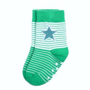 北欧 子供服 靴下 滑り止め付き ストライプ 星柄  全5色 ブルー ピンク 緑 黄色|villervalla