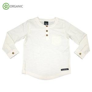 白シャツ 長袖 グランパシャツ キッズ 子供服 オーガニックコットン|villervalla