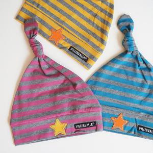 ストライプ ボーダー ベビー帽子 ナイトキャップ 青 ATLANTIC 紫 SMOOTHIE 黄色 MUSTARD|villervalla