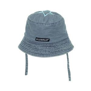 ベビー 帽子 ハット UVカット デニムx青 MIDWASH/RIVIERA 44-46cm 6ヶ月-1歳|villervalla