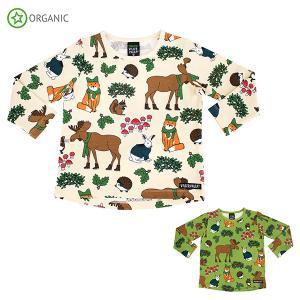 長袖Tシャツ 子供服 キッズ リス うさぎ 白 緑 オーガニックコットン 動物 Nordic Animals villervalla