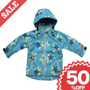 北欧 子供服 防水ジャケット 青 フード付き 星柄 マジックテープ レインコート|villervalla
