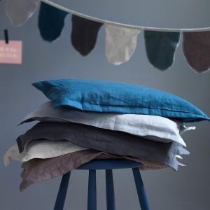 北欧 寝具 枕カバー 28cm×35cm ベビー用 ピローケース スウェーデン製 麻 リネン100% ブルー アイボリー NGbaby MOOD|villervalla