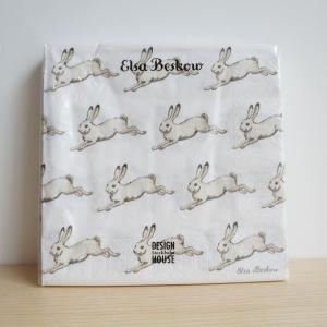 北欧 キッチン用品 紙ナプキン ウサギ柄 20枚入り エルサベスコフ|villervalla