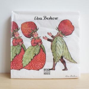 北欧 キッチン用品 紙ナプキン イチゴ柄 20枚入り エルサベスコフ|villervalla