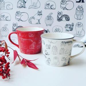 リサラーソン マグカップ 赤 白 ねこたち ねこ 猫 カップ|villervalla