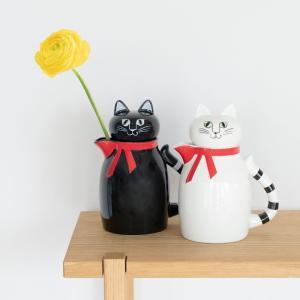 リサラーソン ねこのティーポット 白猫FIA フィア 黒猫PIAピア 母の日ギフト おしゃれ 猫 ねこ ティータイム 紅茶 北欧|villervalla