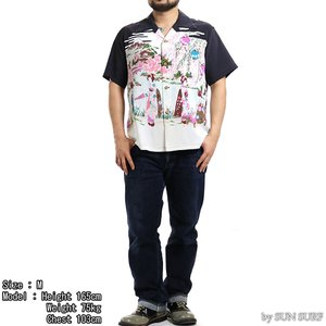 【返品不可】SUN SURF SS38030 アロハ RAYON HAWAIIAN SHIRT S/S OLD JAPANESE SCENRY サンサーフ 東洋|vintage