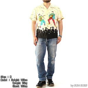 【返品不可】SUN SURF x STAR OF HOLLYWOOD SH38116 オープンシャツ BROAD COTTON OPEN SHIRT S/S KING OF ROCK'N'ROLL|vintage
