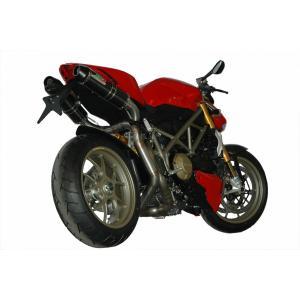 バイク マフラー QDエキゾースト マグナム ハイマウント カーボン ツインサイレンサー フルシステム ドカティ ストリートファイター|vio0009