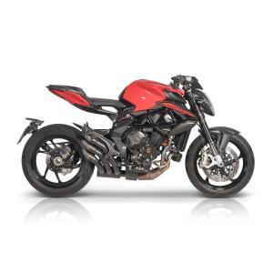 バイク マフラー QDエキゾースト MVアグスタ ブルターレ 800 MY2016 パワーガン スリップオン システム ブラック|vio0009
