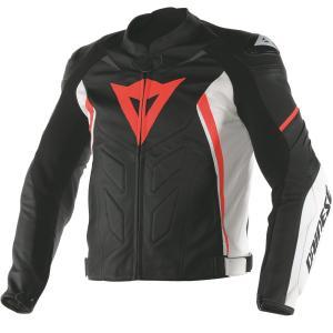 バイク レザージャケット ダイネーゼ Avro D1 ブラック/ホワイト/オレンジ|vio0009