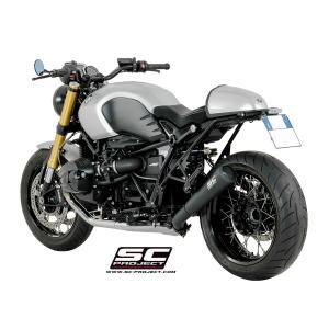 バイク マフラー SCプロジェクト BMW R NINE T コニカル '70s スリップオン サイレンサー ブラックエディション|vio0009