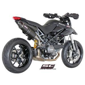 バイク マフラー SCプロジェクト ドカティ ハイパー・モタード 796 オーバル・サイレンサー スリップオン カーボン製サイドカウル付|vio0009