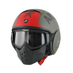 バイク ヘルメット フルフェイス シャーク Drak ドラク ソユーズ マット(ツヤ消し) グリーン/レッド|vio0009