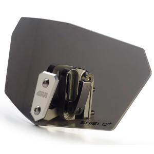 バイク スクリーン 汎用 GIVI 可変 補助スポイラー スモーク|vio0009