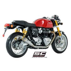 バイク マフラー SCプロジェクト トライアンフ THRUXTON 1200 / R  ステンレス コニカル '70s  ツイン・スリップオン|vio0009