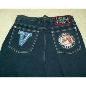 限定特価40%OFF バーニヴァーノ 後ろポケットにロゴとキャラクターのアップリケ 秋冬物 ツータック ジーンズ 88cm 2336  BARNI VARNO|vip