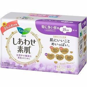 花王 ロリエ しあわせ素肌 特に多い昼用 羽つき 17コ入 (生理用ナプキン)|viqol