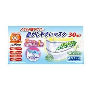 奥田薬品 メガネが曇りにくい 息がしやすいマスク ふつうサイズ 30枚入 (マスク) viqol