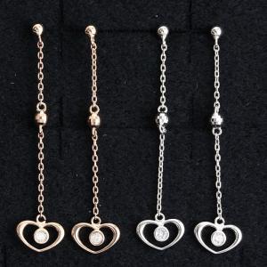 ダイヤモンド ピアス ロング チェーン ハート 0.02ct K10 10金 ホワイトゴールド ピンクゴールド 送料無料|virgindiamond