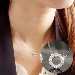 ダイヤモンド ネックレス ペンダント レディース サークル 40cm ホワイトゴールド 0.12ct 18K 18金 送料無料|virgindiamond