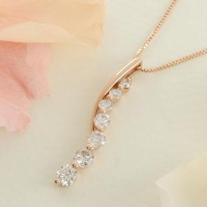 ダイヤモンド ネックレス ペンダント レディース ピンクゴールド ラインネックレス K18 1.0ct 送料無料|virgindiamond