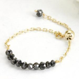 ダイヤモンド ブラックダイヤモンド リング 指輪 チェーンリング 0.55ct レディース イエローゴールド フリーサイズ K10 10金 送料無料|virgindiamond