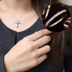 ダイヤモンド リング 指輪 レディース 0.2ct ハーフエタニティーリング K10 10金 5号〜20号 送料無料|virgindiamond