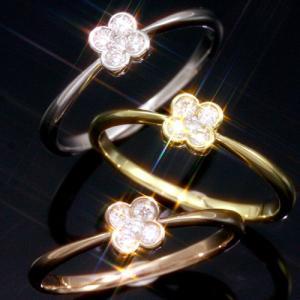 送料無料 天然ダイヤモンド0.1ctフラワー リング 指輪 4弁花 天然ダイヤモンド レディース|virgindiamond