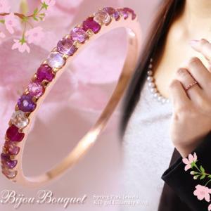 送料無料 天然石マルチハーフエタニティーリング 指輪 ビジューブーケ(ピンク)〜bijou bouquet〜 ルビー/ピンクトルマリン/ムーンストーン/アメジスト|virgindiamond