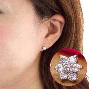 送料無料 ダイヤモンド 0.3ct フラワーピアス K18WG/PG 天然ダイヤモンド レディース|virgindiamond