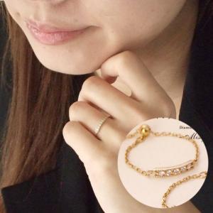 送料無料 ダイヤモンドチェーンリング 指輪K18YGイエローゴールド mignon /misty 天然ダイヤモンド レディース|virgindiamond