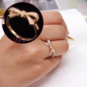 送料無料 天然ダイヤモンド0.2ct 流れる リボン リング 指輪 3号〜16号ピンキーリングにもできる K10PG ピンクゴールドレディース|virgindiamond