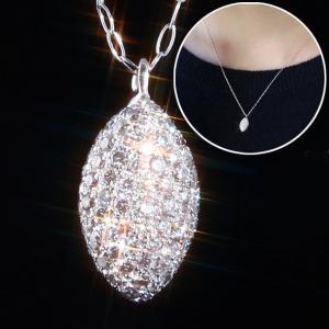 送料無料 ダイヤ65粒もの輝き パヴェペンダント・ネックレス マイクロセッティング ストーリーStory 天然ダイヤモンド計0.3ct K18WGホワイトゴールドレディース|virgindiamond