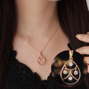 送料無料 天然ダイヤモンド0.50ct 揺れるダイヤペンダント・ネックレス K18PGピンクゴールド 天然ダイヤモンド レディース|virgindiamond