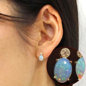 送料無料 4月&10月誕生石 エチオピア産高品質オパール ダイヤ0.02ct K10ゴールドWG/YG ピアスレディース 天然ダイヤモンド|virgindiamond