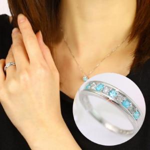 ダイヤモンド リング 指輪 レディース 18K 18金 パライバトルマリン ホワイトゴールド 送料無料|virgindiamond