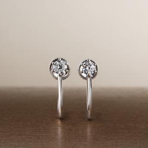 送料無料 天然ダイヤモンド計0.15ctUpH&C ハート&キューピット × K18ホワイトゴールドイヤリングレディース|virgindiamond