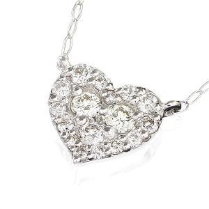 送料無料 天然ダイヤモンド計0.3ct×K18ホワイトゴールドハートモチーフペンダントネックレスレディース|virgindiamond
