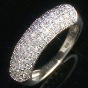 送料無料 ダイヤモンド1.0ct×K18WG ホワイトゴールド パヴェリング・指輪 天然ダイヤモンド レディース|virgindiamond