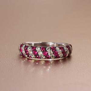 送料無料 天然ダイヤモンド 0.50ct ルビー 0.70ct パヴェリング・指輪K18WG(18金/ホワイトゴールド)レディース virgindiamond