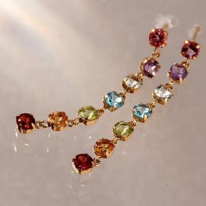 送料無料 天然石アミュレットロングピアス K18YG(18金/イエローゴールド) 天然ダイヤモンド レディース|virgindiamond