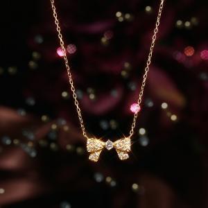 送料無料 K18×D0.20ct 天然ダイヤモンド リボン ネックレス イエローゴールド 18金 K18 k18 K18 YG yg K18YG レディース|virgindiamond
