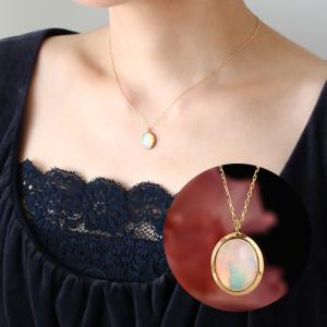 送料無料 K18YG 10月誕生石 エチオピア産オパール ペンダント レディース virgindiamond