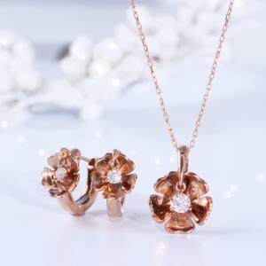 送料無料 天然ダイヤモンド0.15ct K18PG ペンダント K18PG(18金/ピンクゴールド)レディース virgindiamond