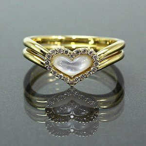 送料無料 天然ダイヤモンド 約0.1ct 白蝶貝 ハートモチーフ 2way リング K18 YG イエローゴールド・指輪K18YG(18金/イエローゴールド)レディース|virgindiamond
