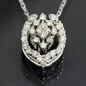 送料無料 天然ダイヤモンド 約計0.2ct&計0.12ct 馬蹄モチーフ 2way ペンダント ネックレス K18WG(18金ホワイトゴールド) イエローゴールド|virgindiamond
